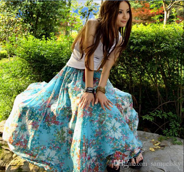 16adca817b882 2016 playa de verano elegante mujeres BOHO gasa drees sexy maxi dama patrón  de flores vestidos fiesta larga expansión vestido azul cielo bohemio faldas