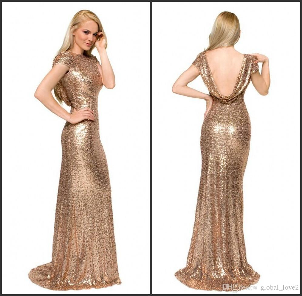 2016 Gold Sequins Blingbling Party Dresses Long Mermaid Prom ...