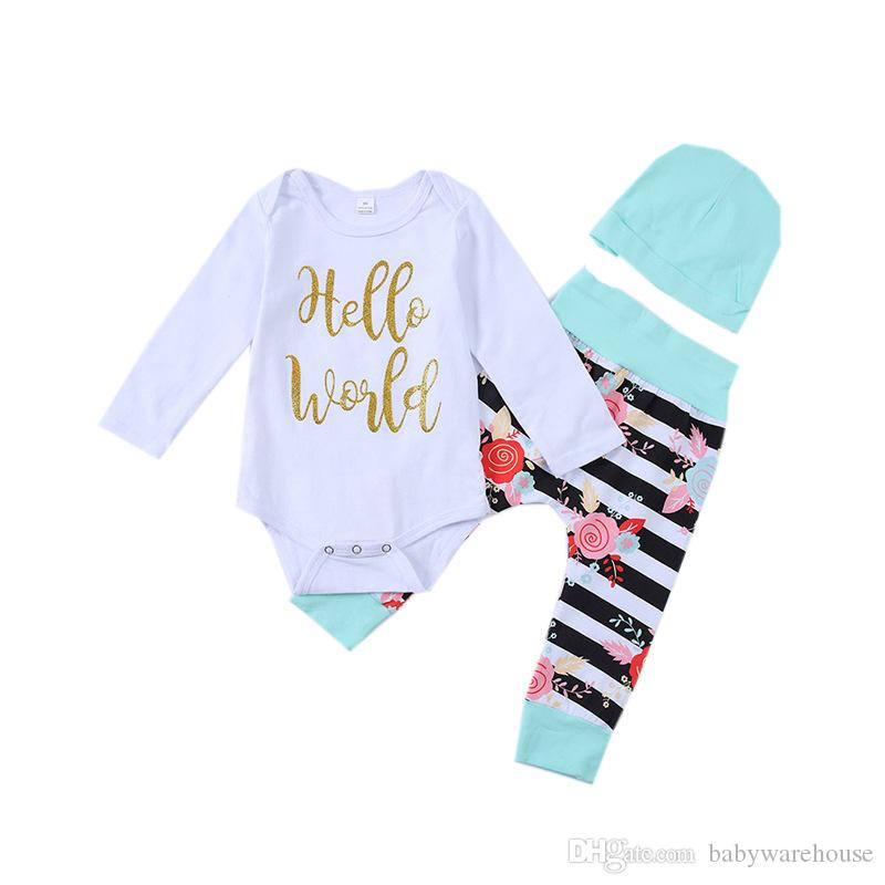 453d32dd9 2019 Infant Clothing Baby Girl Clothes Long Sleeve Hello World ...