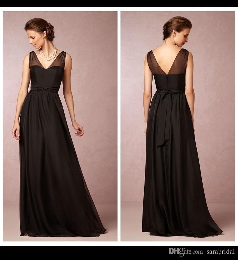 Simple Latest Dress Designs To Evening V Neck Sheer Sash A Line Long ...