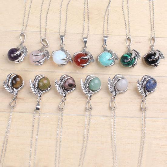 wholesale 20Pcs Classic Silver Plated Chain Mixed Stone Dragon Claw Round Beads Pendant Necklace Jewelry