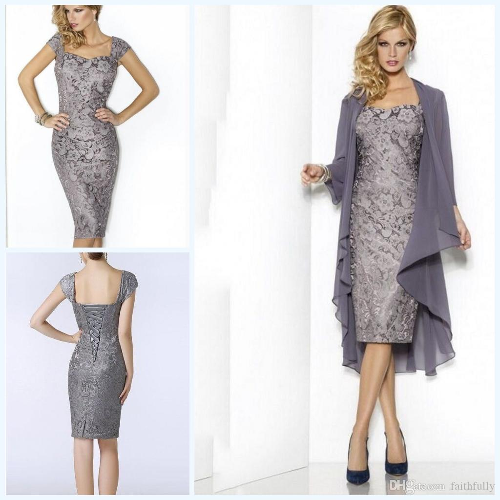Grey Elegant Sweetheart Mothers Dresses Tea Length Sheath Lace ...