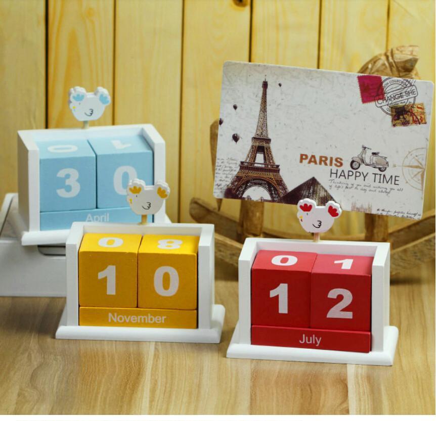 Crazy Wooden Block Calendar Notebuc Com Perpetual Desk Blocks Ideas