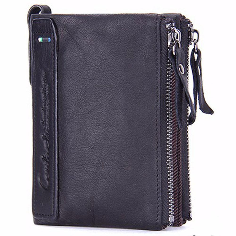 mens bifold leather credit card holder coin pocket wallet zipper purse billfold men wallet leather wallet zippered wallet online with 1498piece on - Bifold Card Holder