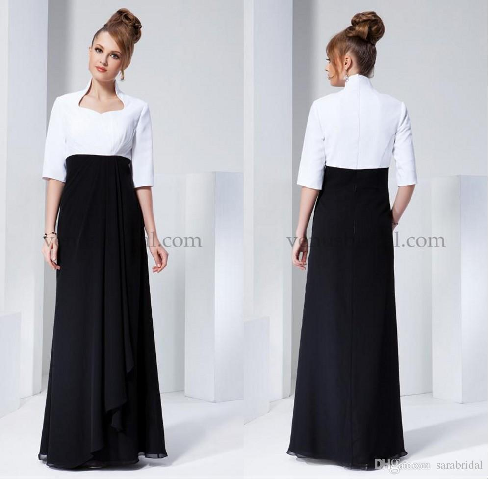 c5636b9bf9d White And Black Wedding Mother Of The Bride Dresses High Neck Half Sleeves  Zipper Back Floor Length Empire A Line Long Evening Dresses HDY Fall Mother  Of ...