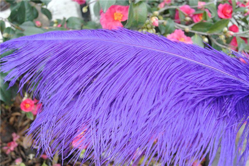 Wholesale  - 県100個/ロット紫のダチョウの羽毛梅の18-20インチ(45-50センチ)ウェディングテーブルセンターピース装飾フェザーセンターピース