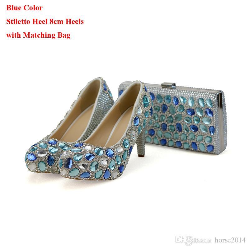 Mavi Kristal Düğün Yüksek Topuklu Debriyaj Tıknaz Topuk ile Rhinestone Balo Eşleşen Çantası ile Külkedisi Balo Ayakkabı Pompalar