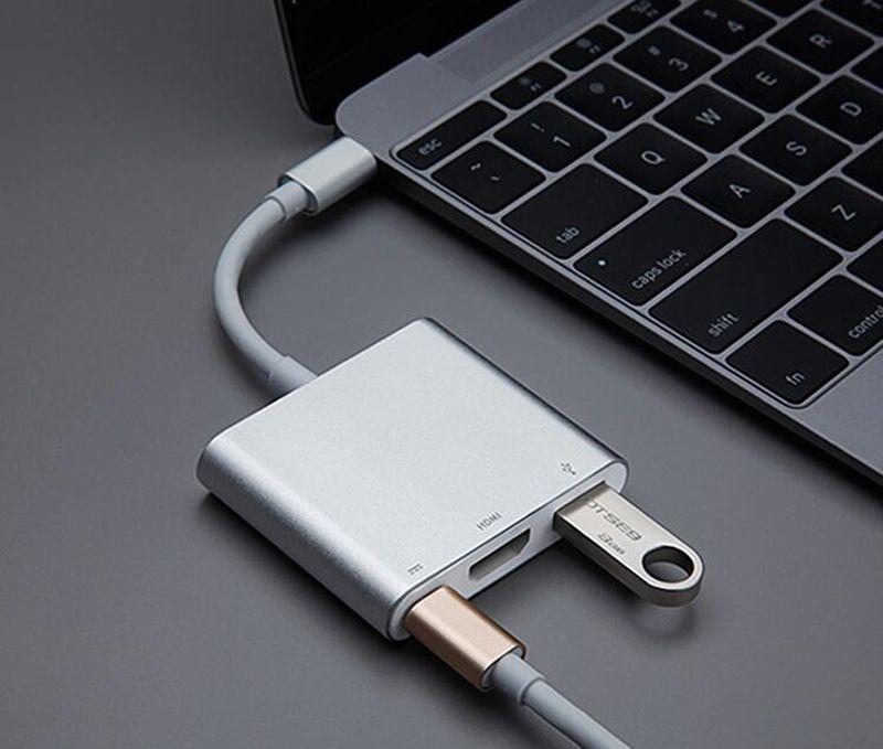 Tip-C HDMI USB 3.0 Kablosu Adaptörü Için 4 K HD Apple Macbook Hava Pro Retina 12 '' Projektör TV Video Dönüştürücü Bağlayıcı
