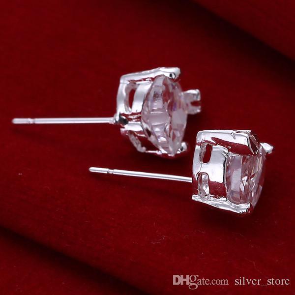 브랜드의 새로운 스털링 실버 플레이트 심장 - 모양의 다이아몬드 귀에 땡 - 화이트 헤드 DFMSE087, 여성 925 실버 매달려 샹들리에 귀걸이