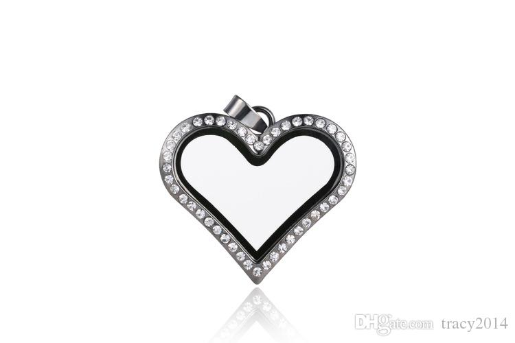 High quality 30mm Locket Pendant Silver Heart magnetic glass box floating charm Memory locket can Open pandant Zinc Alloy+Rhinestone