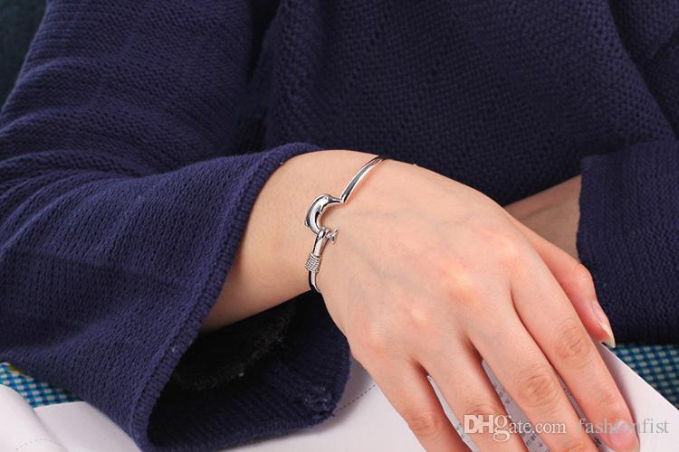 Lowest price 925 Silver Bangles Jewelry Fashion Dolphin Style 925 Silver Bracelet Bangle Jewelry Fit 8inch Wrist Jewelry