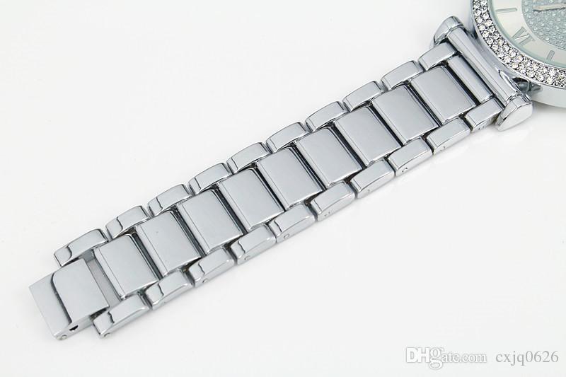 2019 Sıcak Satış Gümüş Altın İzle Kadınlar Lüks Sıcak Satış Bayanlar Saatı Kız Için Hediyeler Tam Paslanmaz Çelik Rhinestone Kuvars İzle