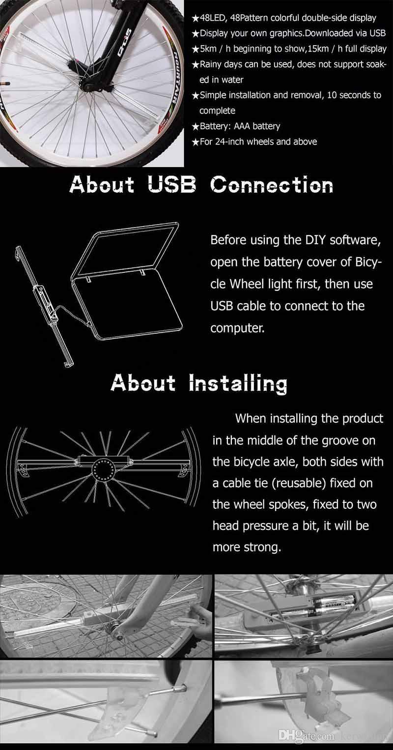 우수한 48 LED 자전거 자전거 프로그래밍 가능한 휠 플래시 라이트 더블 사이드 디스플레이 48 DIY Designs Patterns Rim Lighting RGB for Kinds Bike