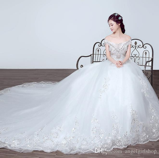 New Design Sequined Luxury Wedding Dresses Long Tail Ball Gown V ...