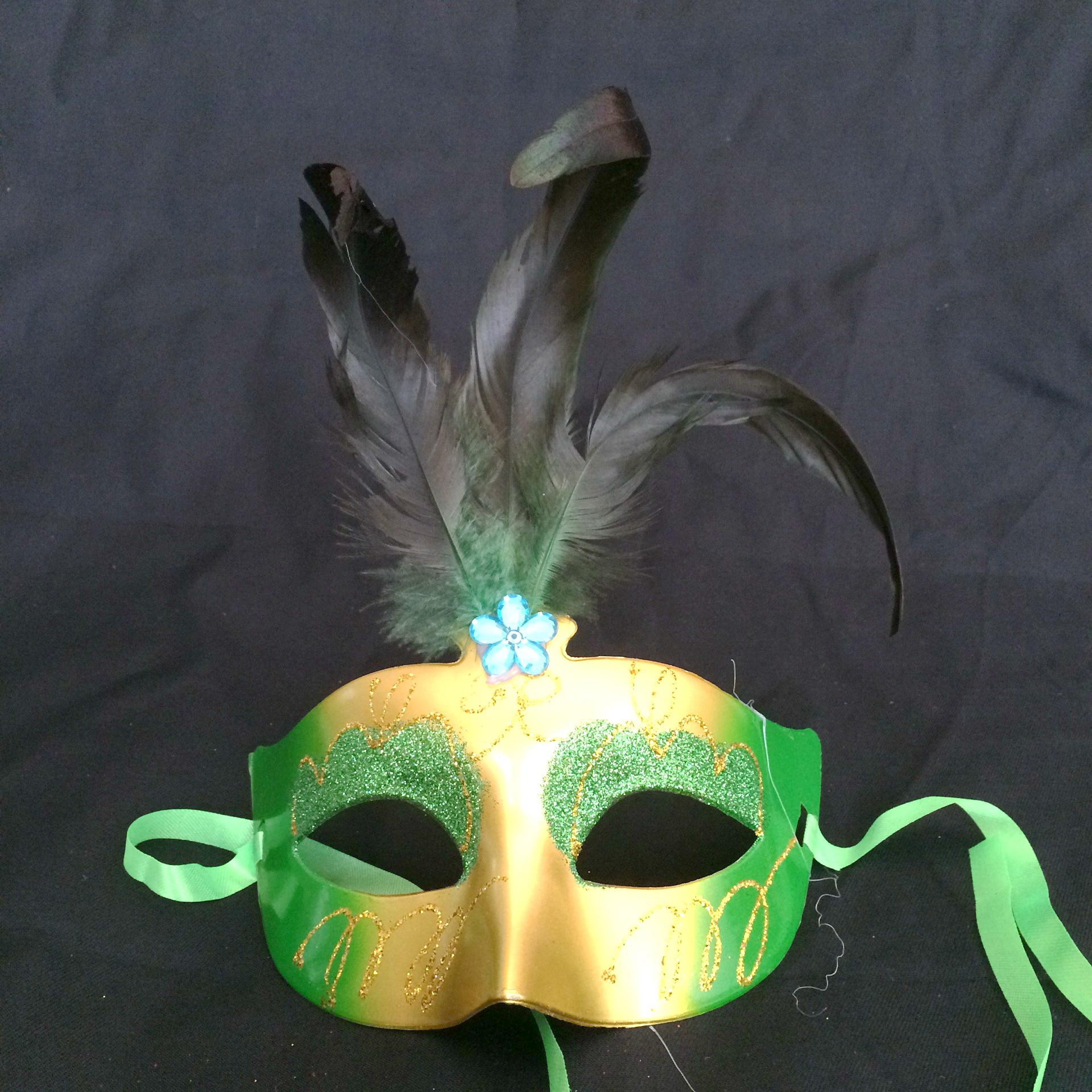 2016 new fashion Feather mask Women Feathered Venetian Masquerade Masks for a masked ball Painting crystal Masks mix colors 100pcs