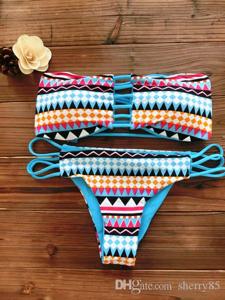 2016 New !Fashion Women Bandeau Bikini Reversible Print swimsuit Strappy swimwear biquini trikini sexy low waist bikini set