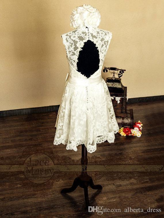Princess Short Lace Summer Beach Wedding Dresses Knee Length V-Neck Illusion Keyhole Open Back Bow Ribbon New Vintage Birdal Gowns
