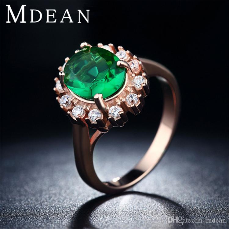 2018 18k Rose Gold Plated Emerald Finger Rings Elegant Wedding