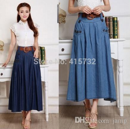 2015 Fashion Long Maxi A Line Skirts For Women Elastic Waist Spring And Autumn Denim Jeans Saias Plus Size Hot Skirt