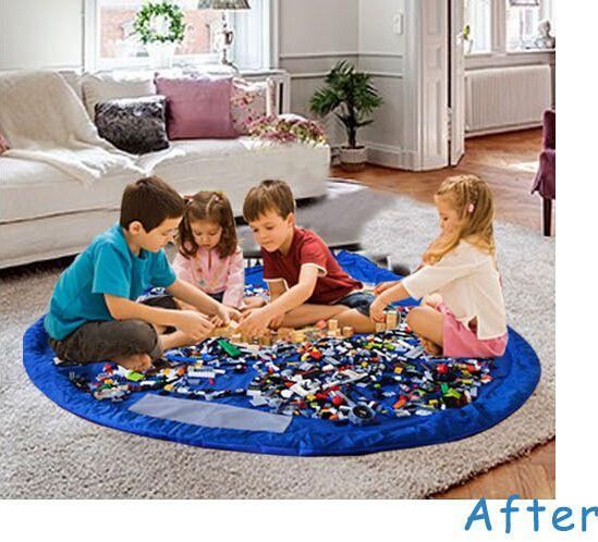 Kids Play Mat Toy Mats portátil plegable grandes Nylon Storage Bag juguetes organizador Rug Box muñecas 150cm azul rosa XL