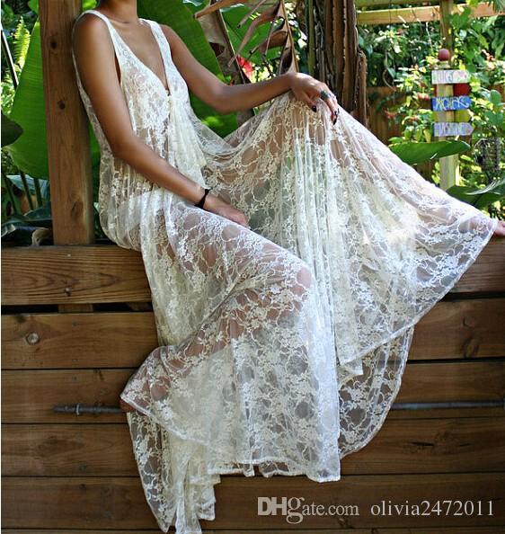 Nouvelle plage longue robe femmes été sexy v cou dame blanche dentelle maxi robe lune de miel fête de mariage fête de plage tenue décontractée