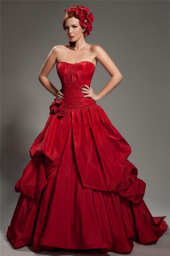 Red Elegant Prom Dress With hand made flower pagent Dresses Fashion Vestidos de festa Taffeta Formal Evening Gowns