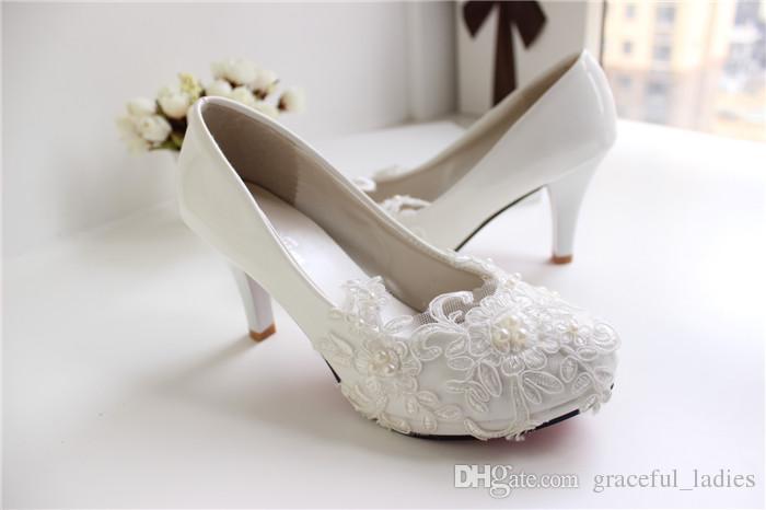 الدانتيل الأبيض أحذية الزفاف هريرة كعب اليدوية 2015 أحذية الزفاف رخيصة مخصص ارتفاع كعب النساء أحذية لل زفاف العروسة الأحذية