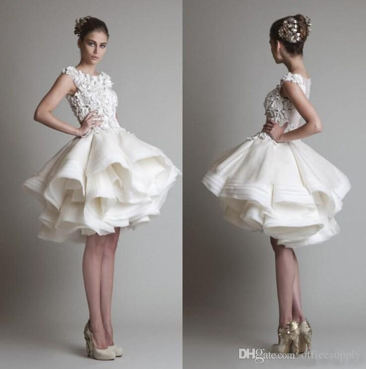 2015 Hot Krikor Jabotian Vintage Cocktail Dresses Crew Neck Sleeveless Appliques See Through Back Tiered Organza Short Homecoming Dresses