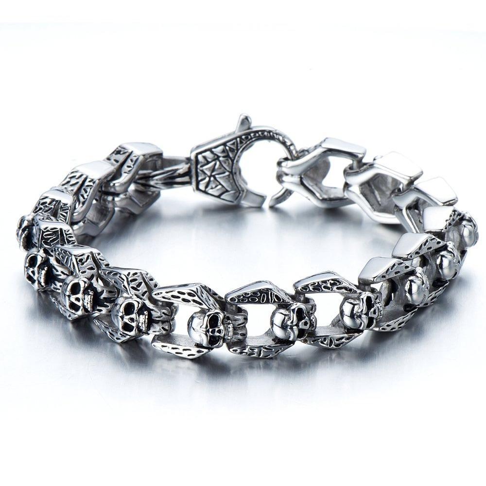 c8c80068ee574 Biker Bracelet Gothic Skull Stainless Steel Bracelet for Men 8.5 Inches  Vintage Old Metal Finishing