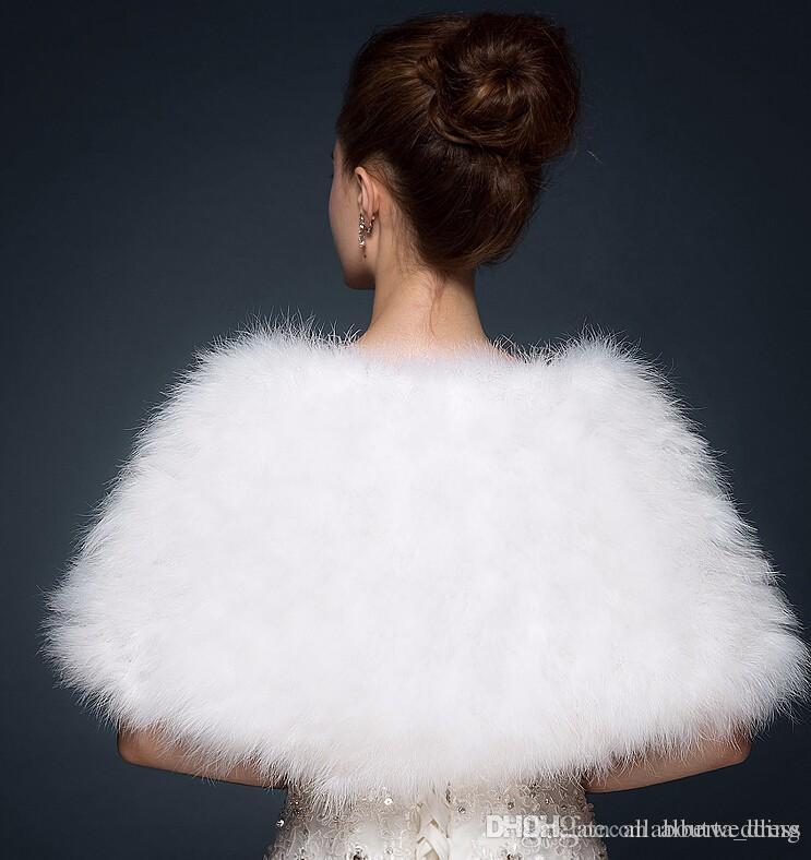 Luxurious Ostrich Piuma Scialle da sposa in pelliccia avvolgibile matrimonio Shrug Coat Bride Winter Wedding Party Boleros Giacca giacca