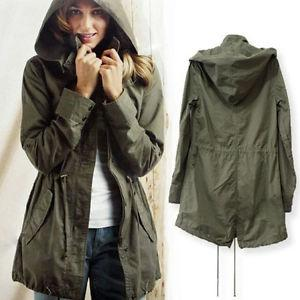 New Womens Hoodie Drawstring Army Green Military Trench Parka ...
