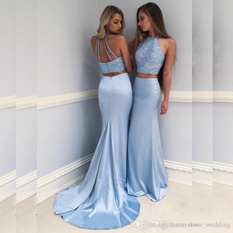 Two Pieces Sky Blue Prom Dress Halter Neckline Beaded Top Backless ...