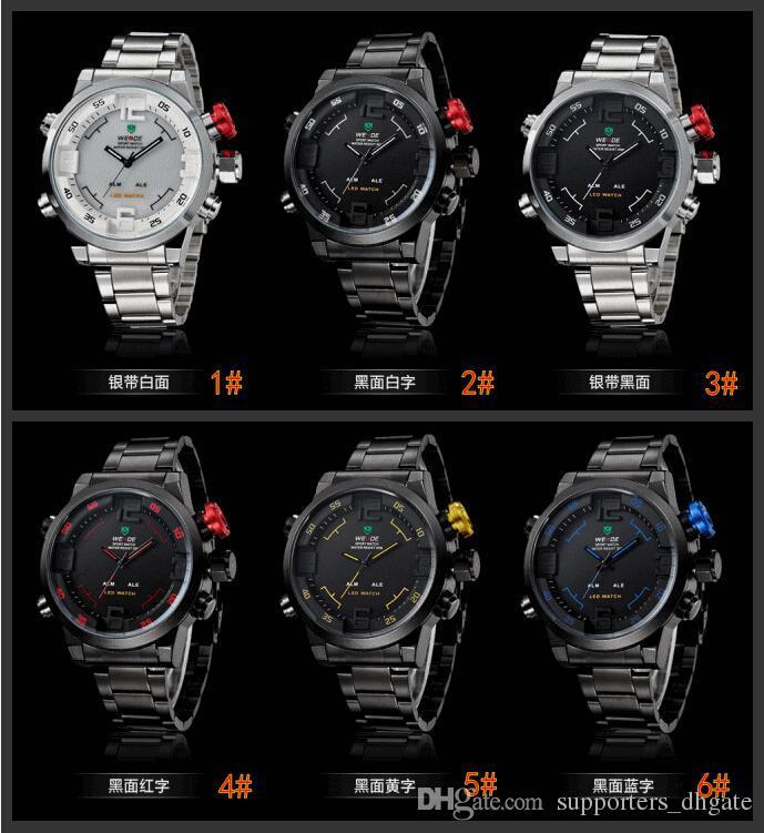 7c030369aab Relogios De Luxo Homens Marca WEIDE Analog   Digital Display Military Watch Full  Stainless Steel Men Sport Watches Relojes Wristwatch 24 Hour Wristwatch ...