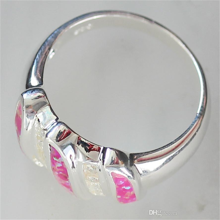새 목록 고귀한 관대 한 Shinning MN110 sz # 6 7 8 9 분홍색 오팔 및 백색 입방 지르코니아 도매 구리 로듐 도금 낭만주의 반지
