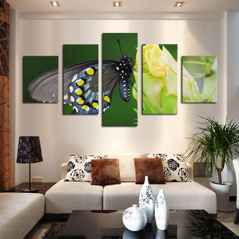Panel Canvas Art Butterfly Flower Painting Modern Fashion