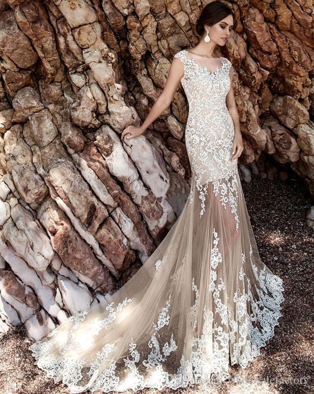 Champagner Spitze A Line Brautkleider 2019 Sheer Tüll Applikationen über Röcke Bow Sash Hochzeit Brautkleider Robe de Mariée BA5359