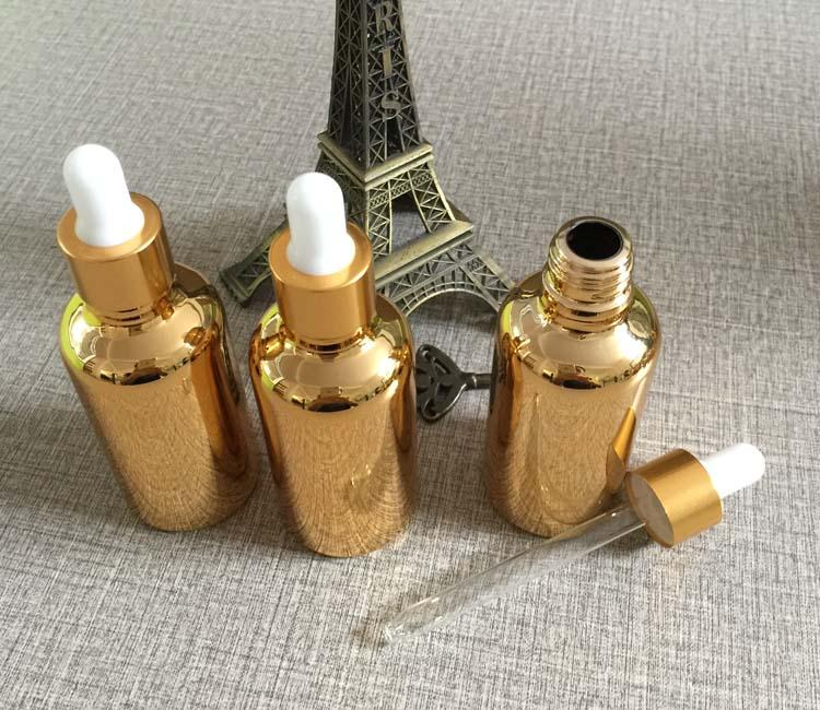 High Grade 30ml Silver Glass Dropper Bottles Wholesale 1: High Grade Golden Glass 30ml Dropper Bottle For E Liquid