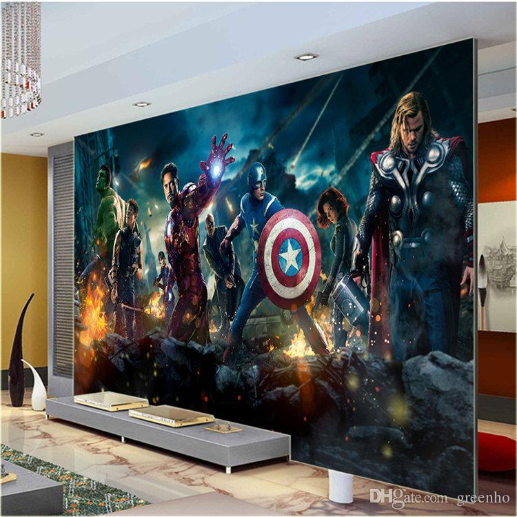 Large size wall mural hulk captain americ thor photo for Avengers mural poster