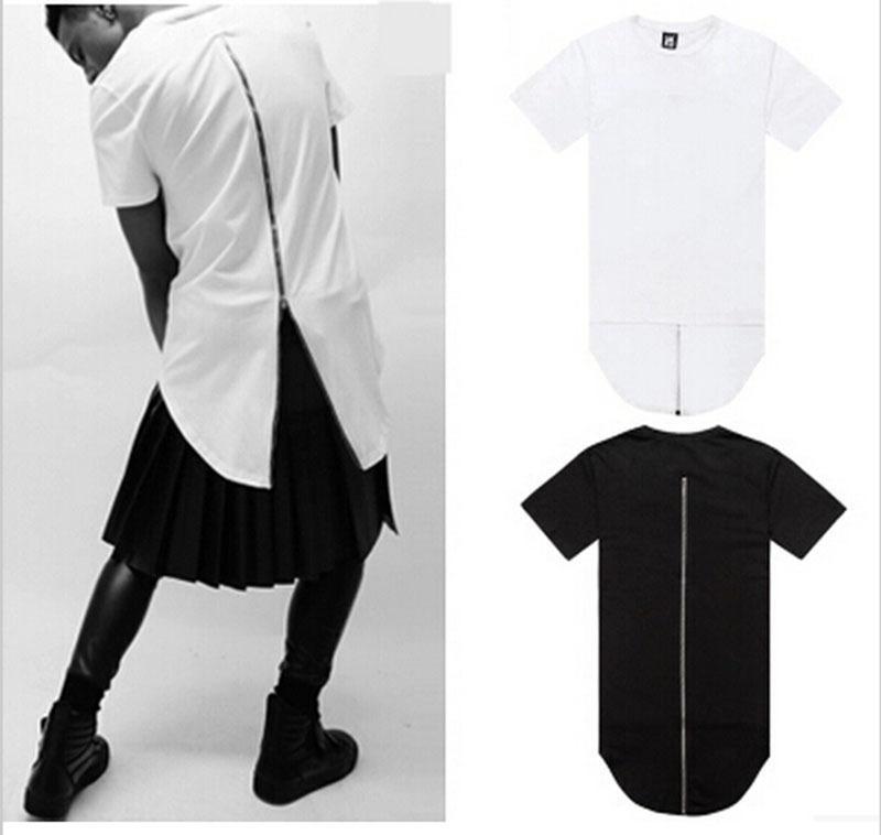 Compre 2016 Negro Blanco Camiseta Tyga Venta Caliente XXL Larga Espalda  Cremallera Streetwear Swag Hombre Hip Hop Monopatín Camiseta Top Tees Hombres  Ropa A ... 3ae98448f6b52