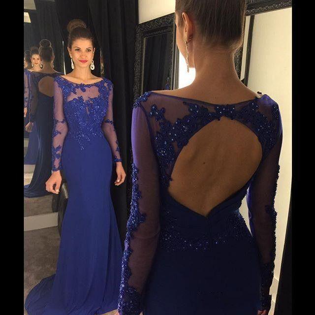 Королевский синий Backless Пром платья Jewel с длинным рукавом Русалка Sweep Tarin Формальные вечерние вечерние платья на заказ