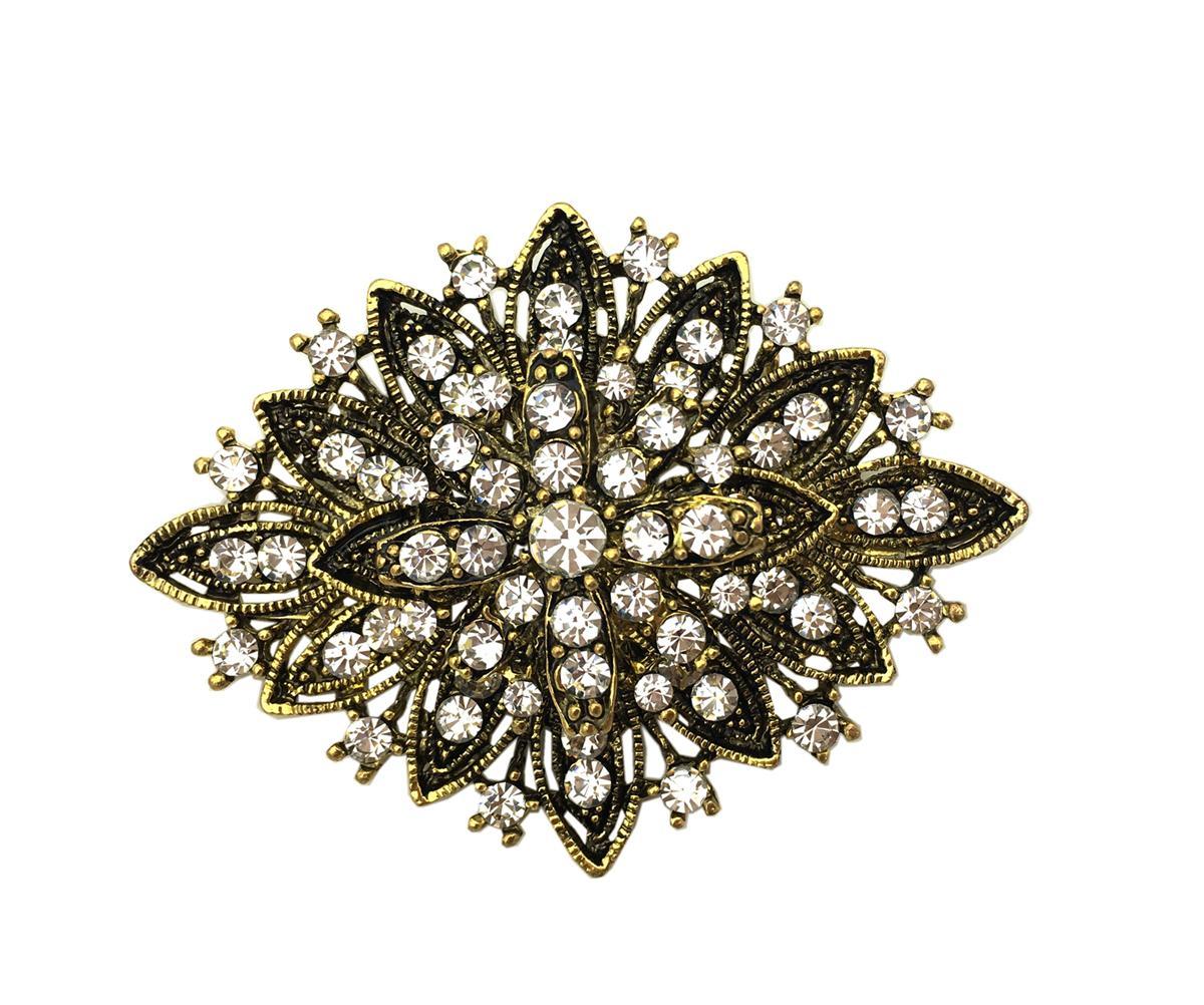 2 بوصة خمر نمط العتيقة الذهب واضح حجر الراين كريستال الماس حفل زفاف بروش النساء المجوهرات
