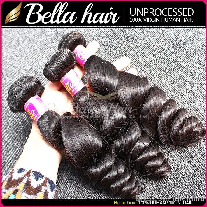 BellaHair®Unprocessed Brazilian Bundles Loose Wave Peruvian Indian Virgin Hair Extensions Natural Color