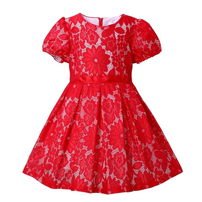 Retail European And American Style Girls Dresses Short Sleeve Red Lace Kids Dresses With O-Neck Children Clothing GD80908-152F