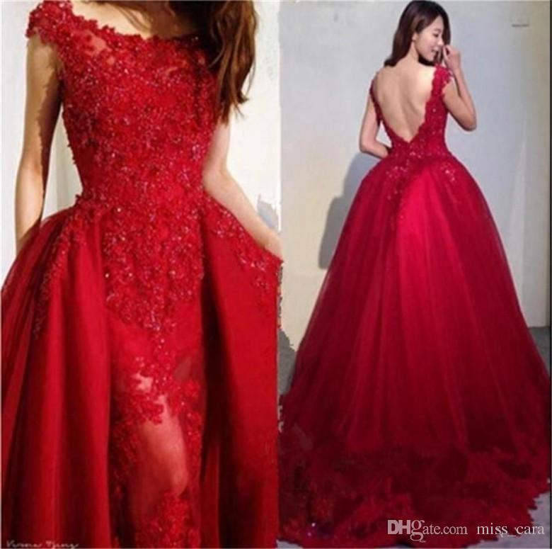 9965bc803c3 ... Dresses With Detachable Skirt Lace Applique Beading Formal Party Gowns  Plus Size Sexy Backless Prom Dress Evening Dresses With Long Sleeves  Evening Gown ...