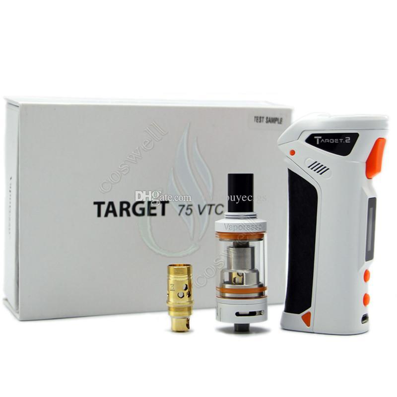 100% de calidad Vaporesso TARGET VTC 75W Mod Starter Kit de control de temperatura de cerámica c CELL Bobina RDA 18650 batería e cig cigarrillo Vapor Mod DHL