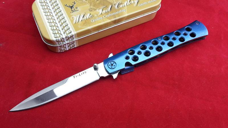 높은 품질 콜드 스틸 26S 파리 블루 블레이드 재질 AUS-8 야외 생존 야영 사냥 칼 칼 접이식 무료 배송