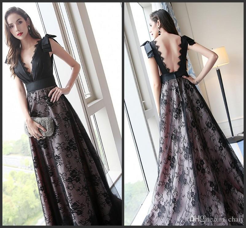 New Vintage Elegant Black Prom Dress Banquet Deep V-Neck Sleeveless Exquisite Lace Floor-length Party Gown Custom Formal Evening Dresse