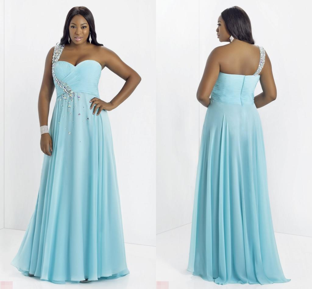 Cheap Plus Size One Shoulder Prom Dresses 2015 Pleats Shiny Crystal ...