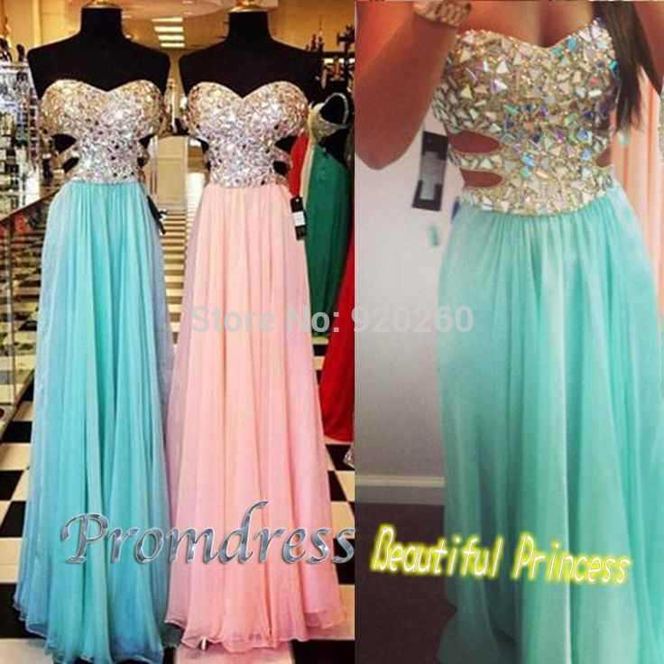 A Line Sexy Mint Green And Pink Chiffon Diamond Prom Dress 2015 ...