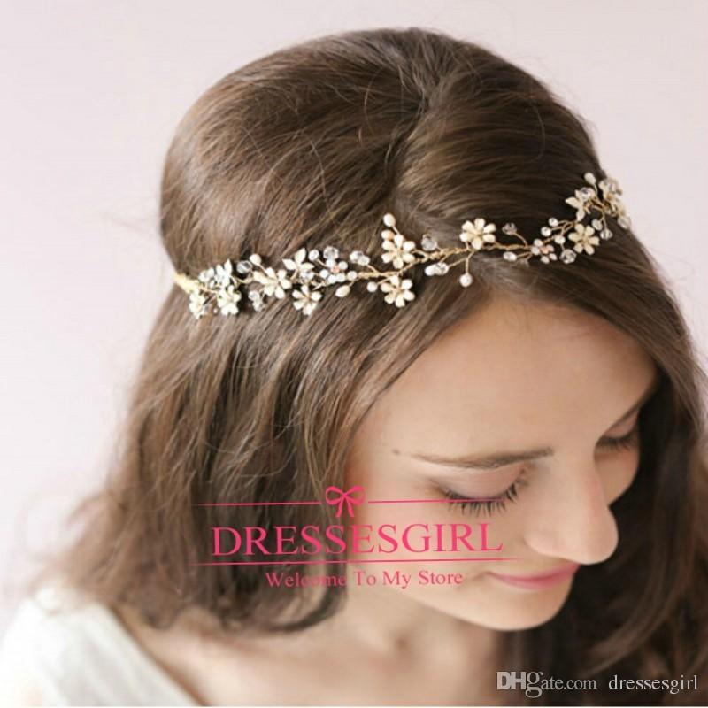 Let yourself shine wearing 2015 gold crystal hair bands tiaras for wedding jewellery elegant wedding hair accessories free shipping shining flowers bridal headw